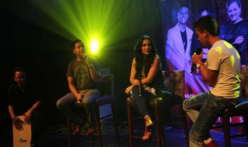 Maykel, Pamela Cortés y Jorge Luis del Hierro, durante la rueda de prensa de Factor X Kids. Foto: Ecuavisa