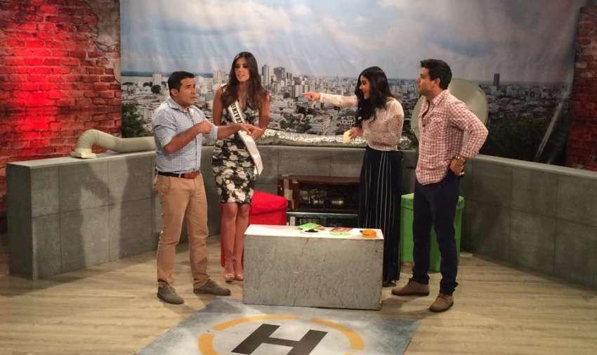 Paulina Vega, la Miss Universo, visitó los estudios de En Contacto. Foto: Ecuavisa