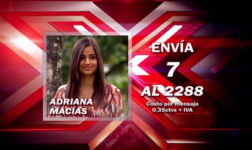 Envía 7 al 2288 para votar por Adriana.