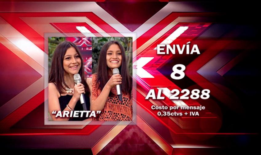 Envía 8 al 2288 para votar por Arietta.
