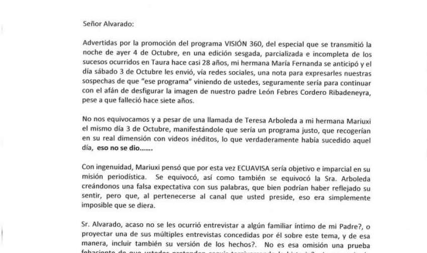 Carta de Ma. Eugenia Febres Cordero