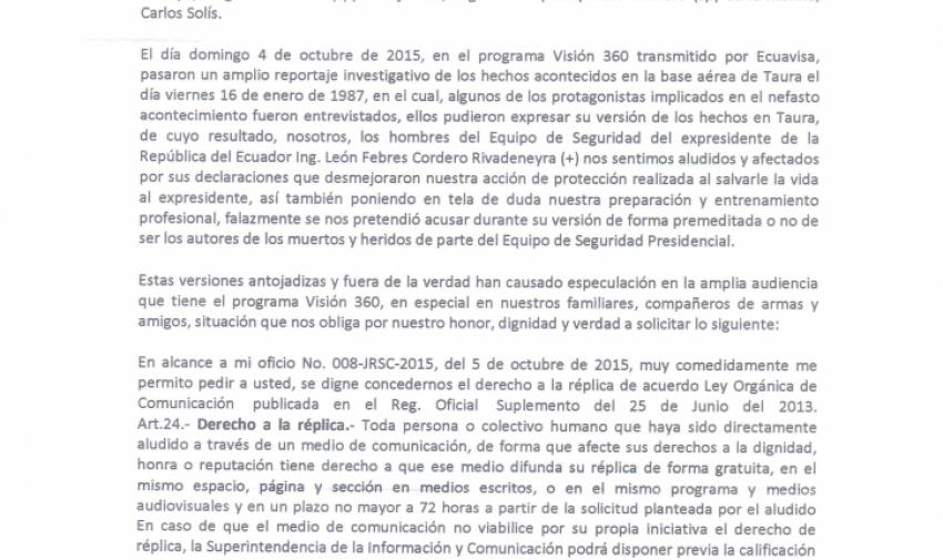 """Carta de autores del libro """"Sobrevivientes de un Magnicidio"""""""