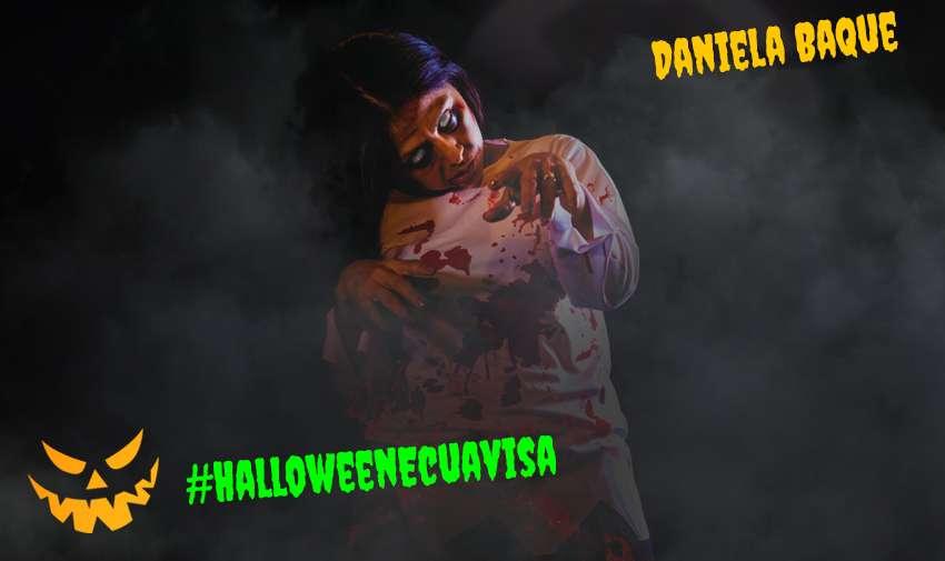 Daniela Baque está disfrazada de Fátima de 3 Familias, pero en zombie.