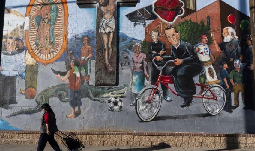 """""""Sagrado Corazon"""", pintando por Francisco Delgado. Foto: AFP"""