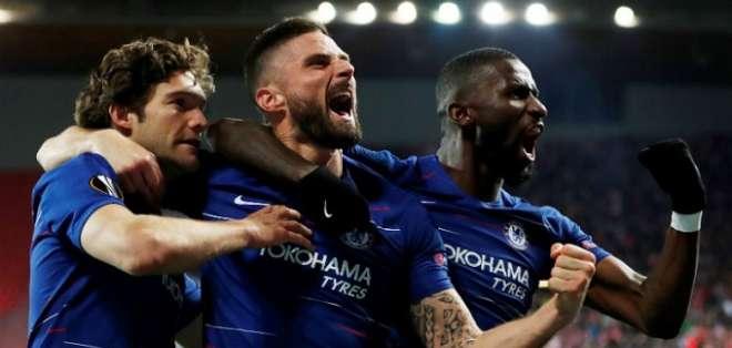 Chelsea celebra el tanto de la victoria.