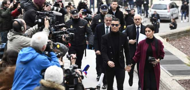 El delantero portugués se presentó en la Audiencia Provincial de Madrid este martes. Foto: PIERRE-PHILIPPE MARCOU / AFP