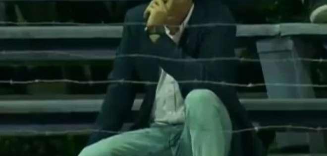 Guillermo Almada luego de haber sido expulsado