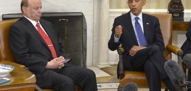 Obama brindí una rueda de prensa junto al presidente de Yemen, Abd Rabbo Mansur. Foto: EFE