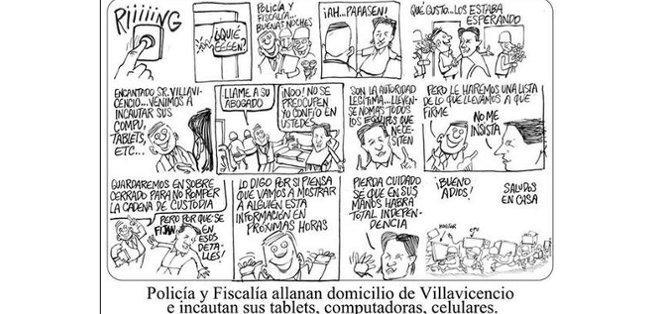 El caricaturista publicó una caricatura con un diálogo afable entre las autoridades y Villavicencio.