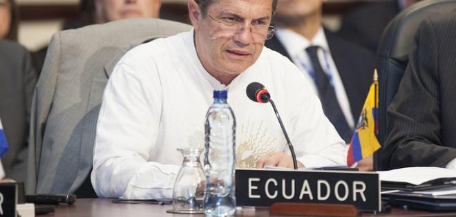 Patiño realizó sus declaraciones en la Asamblea extraordinaria de la OEA. Foto: Cancillería