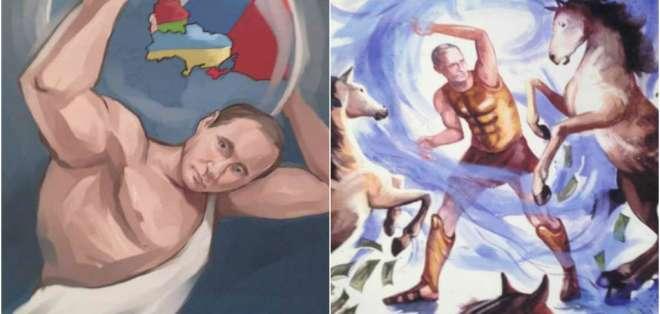 Los insólitos retratos de Vladimir Putin en el papel de Hércules
