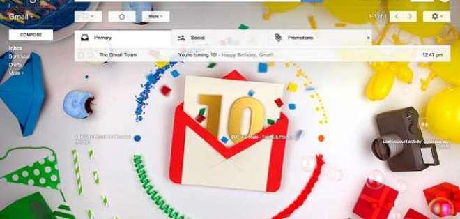Gmail, el primer servicio de correo electrónico de Google, acaba de cumplir 10 años.