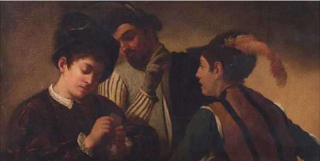 """""""Los jugadores de cartas"""", un óleo que muestra a un hombre rico mientra es engañado por dos tramposos durante un juego de cartas"""