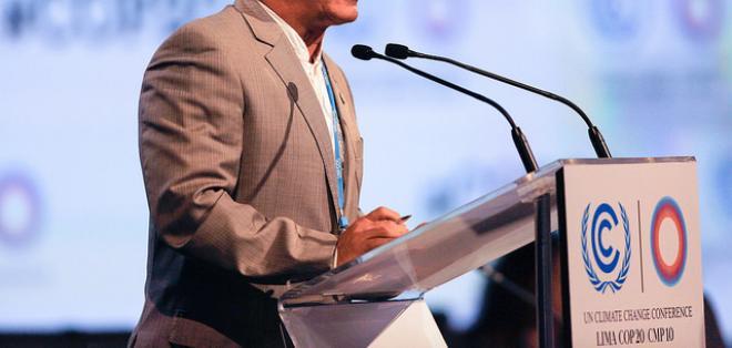 El canciller Ricardo Patiño realizó estas declaraciones en la cumbre sobre cambio climático en Lima. Foto: Ministerio de Relaciones Exteriores