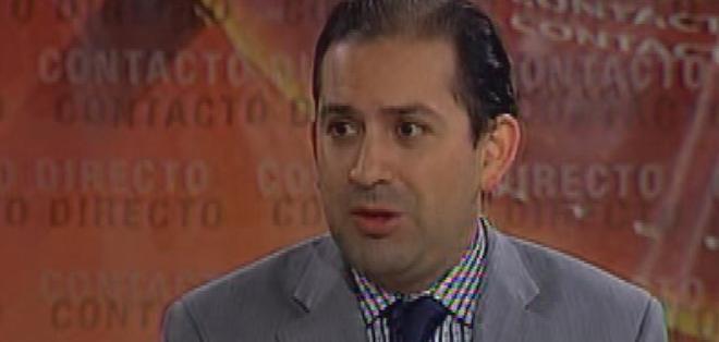 ECUADOR.- Víctor Hugo Villacrés durante su entrevista en Contacto Directo. Foto: Ecuavisa