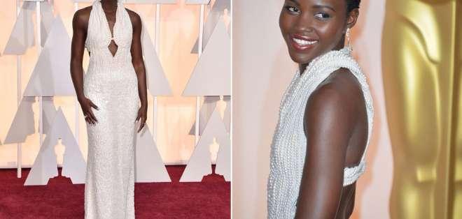 EE.UU.- El vestido que lució Lupita Nyong'o en la 87 edición de los Óscar, elaborado con más de 6.000 perlas y valorado en 150.000 dólares, fue sustraído de la habitación de la actriz. Foto: Agencias