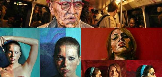 Alexa Meade selecciona un tema a través de un ser humano y luego lo pinta, literalmente.