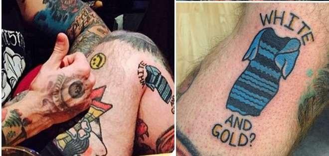 """EE.UU.- Howland, de 24 años, se tatuó el vestidoque capturó la mirada de todos porque le pareció """"chistoso"""". Fotos: Internet"""