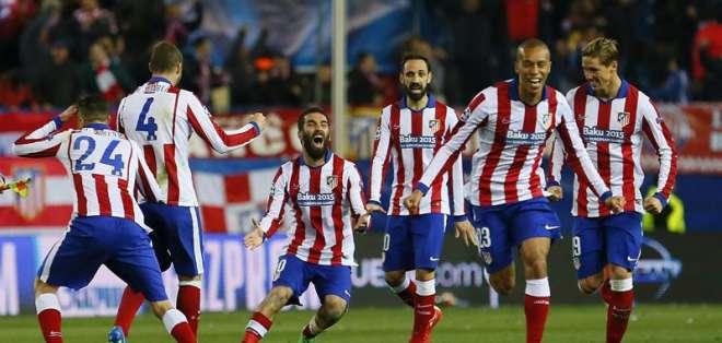 La alegría de los jugadores del Atlético de Madrid. Foto: EFE.