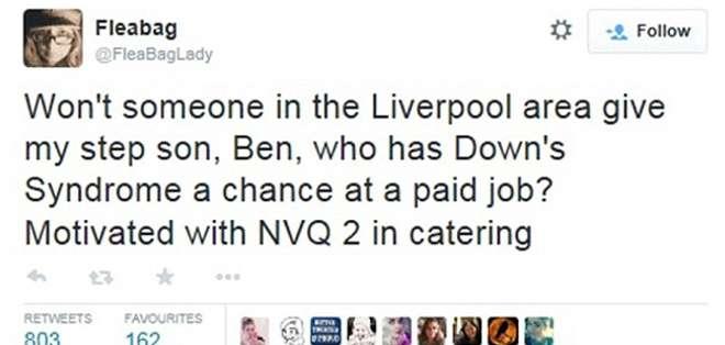 El joven de 26 años está certificado en catering pero no ha podido conseguir un trabajo de tiempo completo debido a su condición.