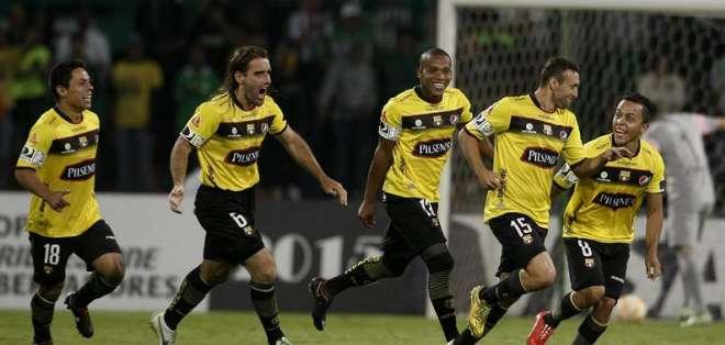 Brahian Alemán anotó dos goles en la victoria sobre Atlético Nacional. Foto: EFE.