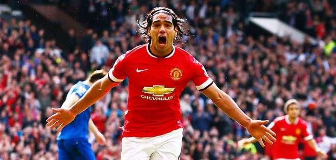 Radamel Falcao celebrando un gol con el Manchester United, su actual equipo (Foto: Internet)