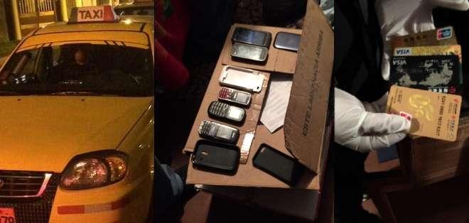 Una de las bandas utilizaba hasta cinco taxis para realizar su crímenes, vehículos que contenían los identificativos de Taxi Seguro. Fotos: Ministerio del Interior.