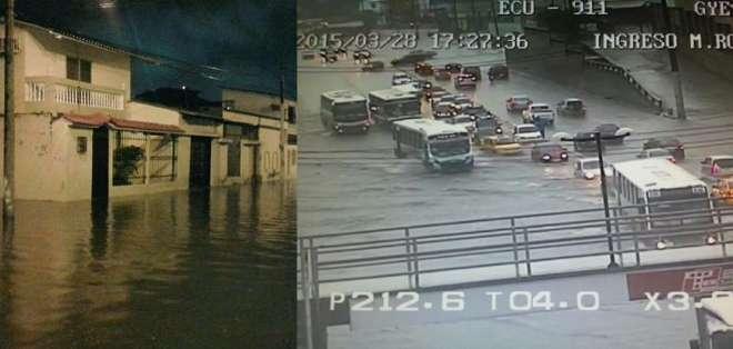 Tramos de arterias importantes como la av. Quito, av. Machala, Juan Tanca Marengo quedaron inundadas.