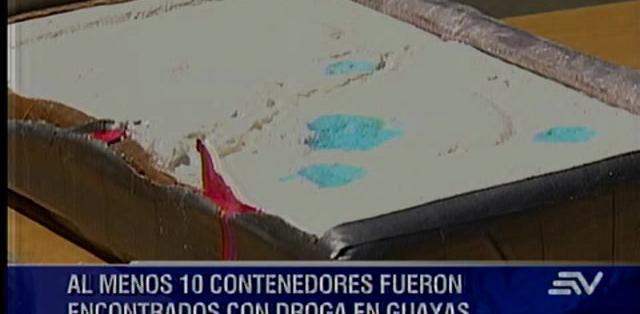 GUAYAQUIL:- Sólo en este año han descubierto diez contenedores con alcaloides en Guayas. Fotos: Capture