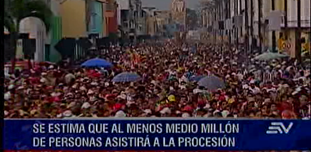 ECUADOR, Guayaquil.- Se tiene previsto que al  menos medio millón de personas asista a este multitudinario recorrido. Foto: Ecuavisa