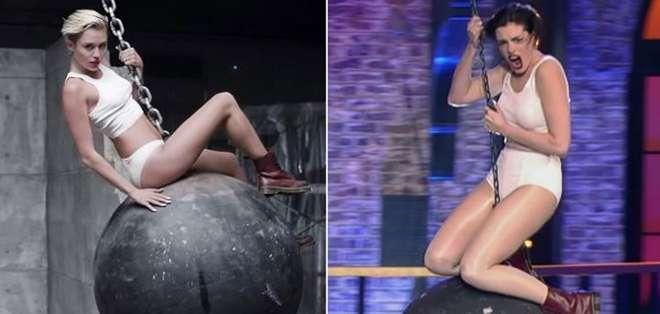 La actriz bailó y cantó hasta en una bola de concreto por el estudio en ropa interior.