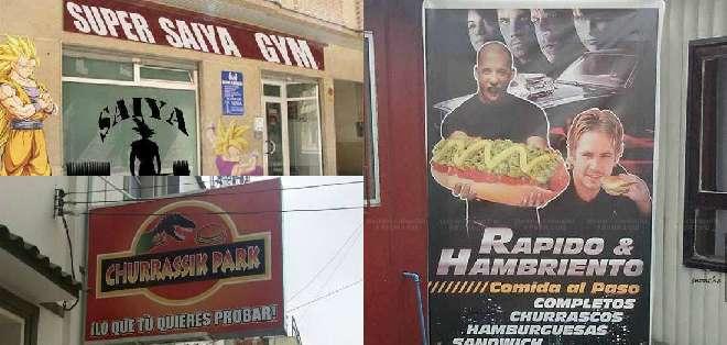"""Un """"Super Saya Gym"""" o la tienda de hamburguesas """"Churrassik Park"""" forman parte de esta lista de locales originalmente piratas."""