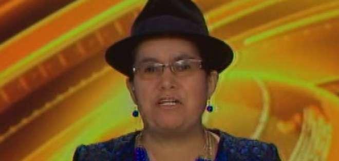 ECUADOR.- Lourdes Tibán durante su entrevista en Contacto Directo. Foto: Ecuavisa