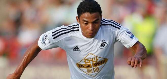 Montero gritó su primer gol con Swansea.