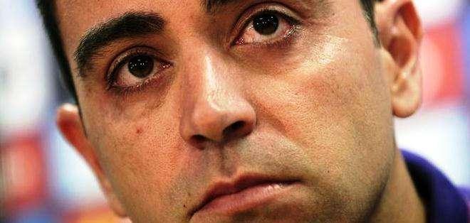 Xavi en plena conferencia de prensa (Foto: EFE)