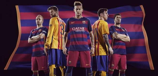 Esta es la indumentaria de local y visitante del Barcelona para la temporada 2015-2016. Foto: EFE.