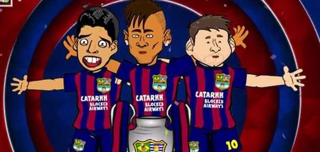 """Suárez, Neymar y Messi celebrando a la """"Orejona""""."""