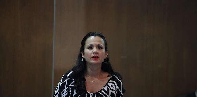 QUITO.- Marcela Aguiñaga mantuvo un cruce verbal con los asambleístas de Galápagos  en la Asamblea.  Fotos: Flickr Asamblea Nacional.