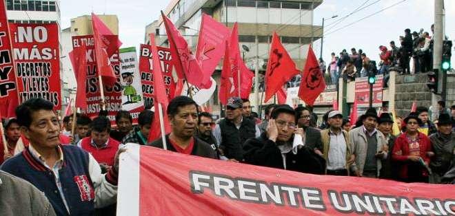 QUITO, Ecuador.- Las organizaciones sindicales y sociales analizan la fecha del paro nacional. Foto: Archivo