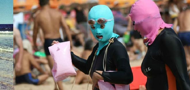 """China.- Cada vez más mujeres chinas utilizan el """"facekini"""", una máscara que las protege del sol.  Foto: Collage"""