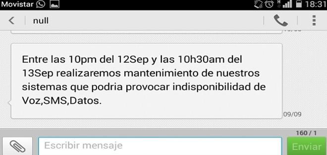 Imagen del mensaje enviado por Telefónica a sus clientes.