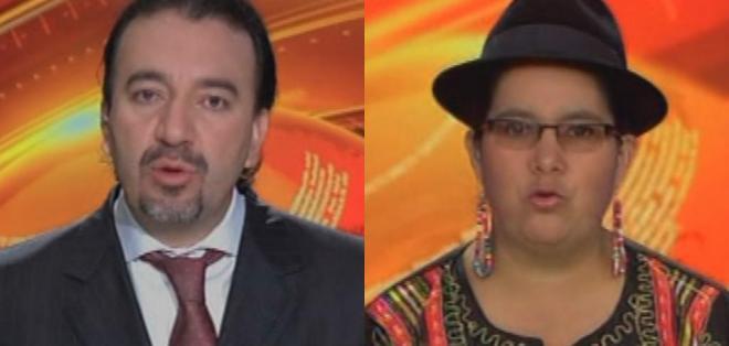 ECUADOR.- Pabel Muñoz y Lourdes Tibán durante su entrevista en Contacto Directo. Foto: Ecuavisa
