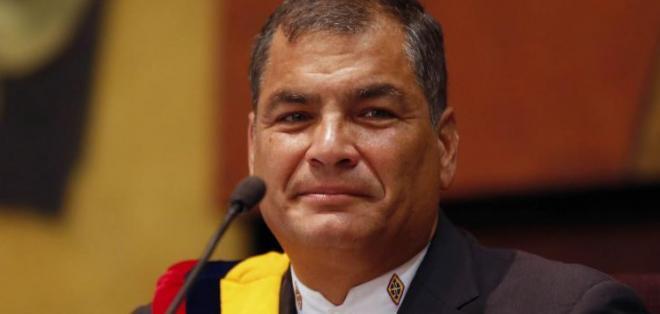 Correa mostró sus cifras para decir que el país ganó en esta década. Foto: Flickr Presidencia.