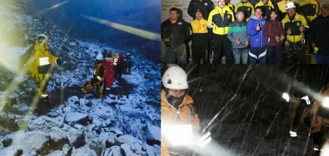 Dos hombres estuvieron perdidos más de 30 horas y presentaron principios de hipotermia. Fotos: Policía Nacional