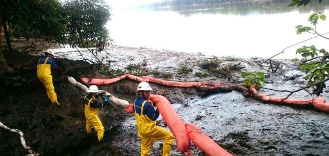 GUAYAQUIL, Ecuador.- La presencia de lechugines en el sitio del derrame podría afectar planta de Interagua. Foto: Petroecuador