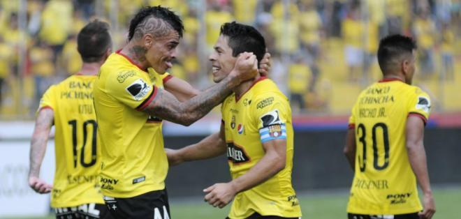GUAYAQUIL, Ecuador.- Oyola anotó uno de los goles de Barcelona ante Universidad Católica. Foto: API.