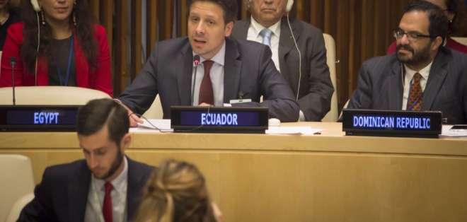 EE.UU.- El canciller reiteró en el pleno de la ONU que Ecuador realizará en 2017 un referendo. Foto: Cancillería
