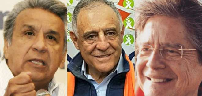 Moreno y Lasso están en Guayaquil; Moncayo recorrió provincia de Imbabura. Foto: Collage