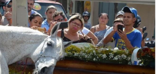 El caballo del jinete fallecido en Brasil acompañó el funeral y alzó sus patas en la procesión. Foto: Tomado de diario La Opinión