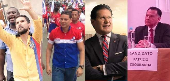 Bucaram, Espinel, Pesántez y Zuquilanda intensifican sus esfuerzo por captar votos. Foto: Collage.